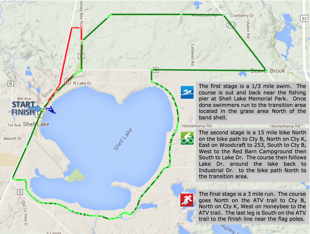 Shell Lake Lions Triathlon Course Map